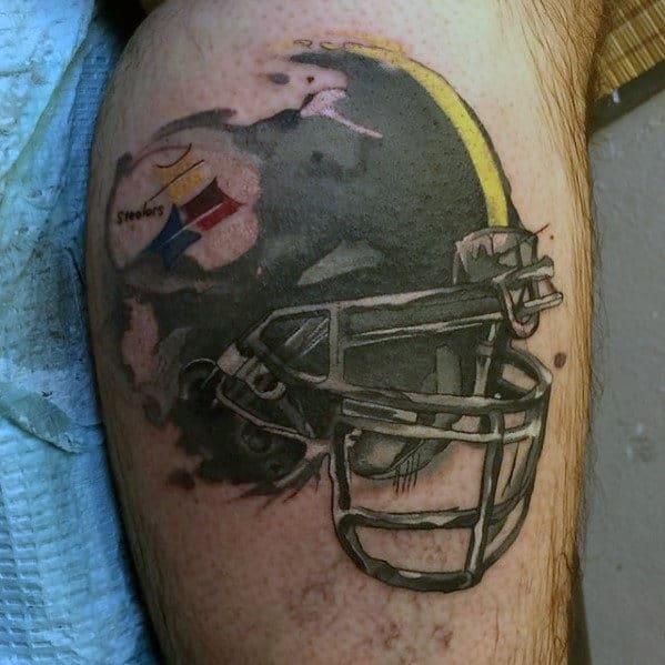 Watercolor Pittsburgh Steelers Nfl Football Helmet Mens Tattoos On Arm