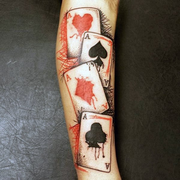 Watercolor Playing Card Male Forearm Tattoo