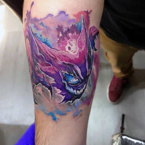 Watercolor Pokemon Male Video Game Tattoos