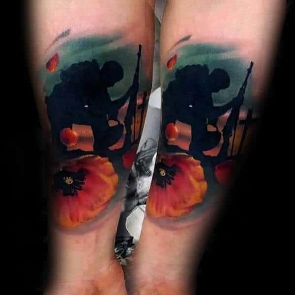 Watercolor Poppy Flower Fallen Soldier Grave Mens Forearm Tattoo