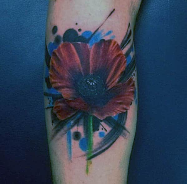 Watercolor Poppy Tattoo For Men On Arms