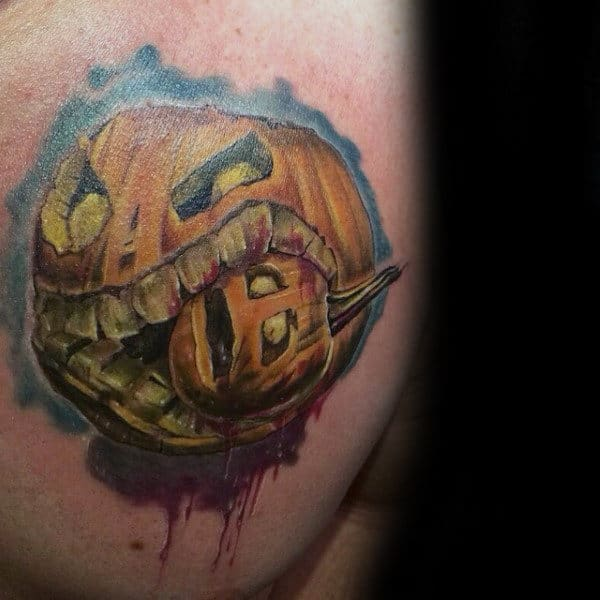 Watercolor Pumpkin Eating Pumpkin Mens Tattoo Ideas