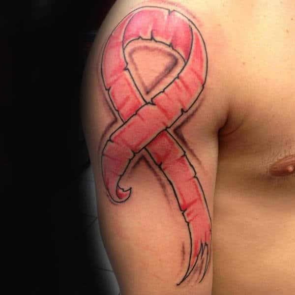 70 Cancer Ribbon Tattoos For Men - Supportive Design Ideas