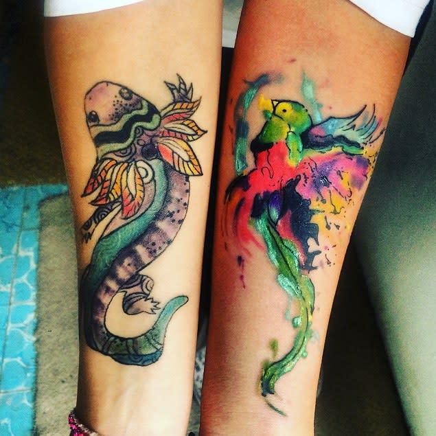 Watercolor Quetzal Tattoos Carosn5
