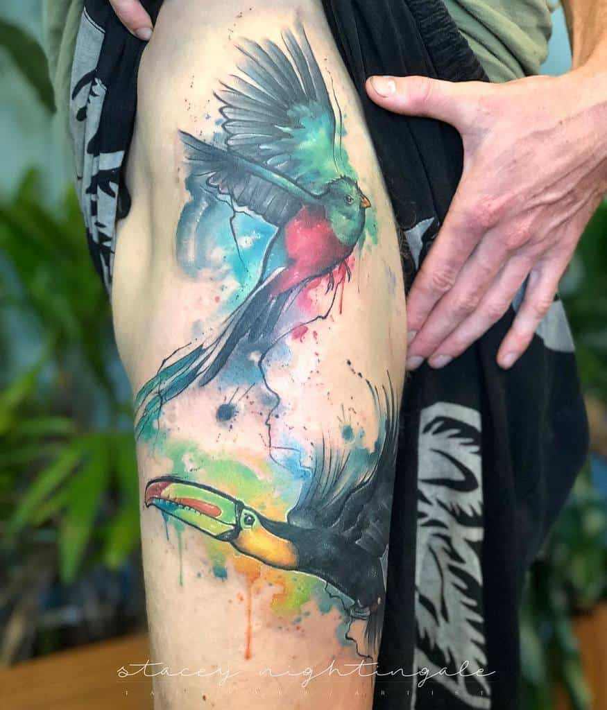 Watercolor Quetzal Tattoos Stacey.night.creations