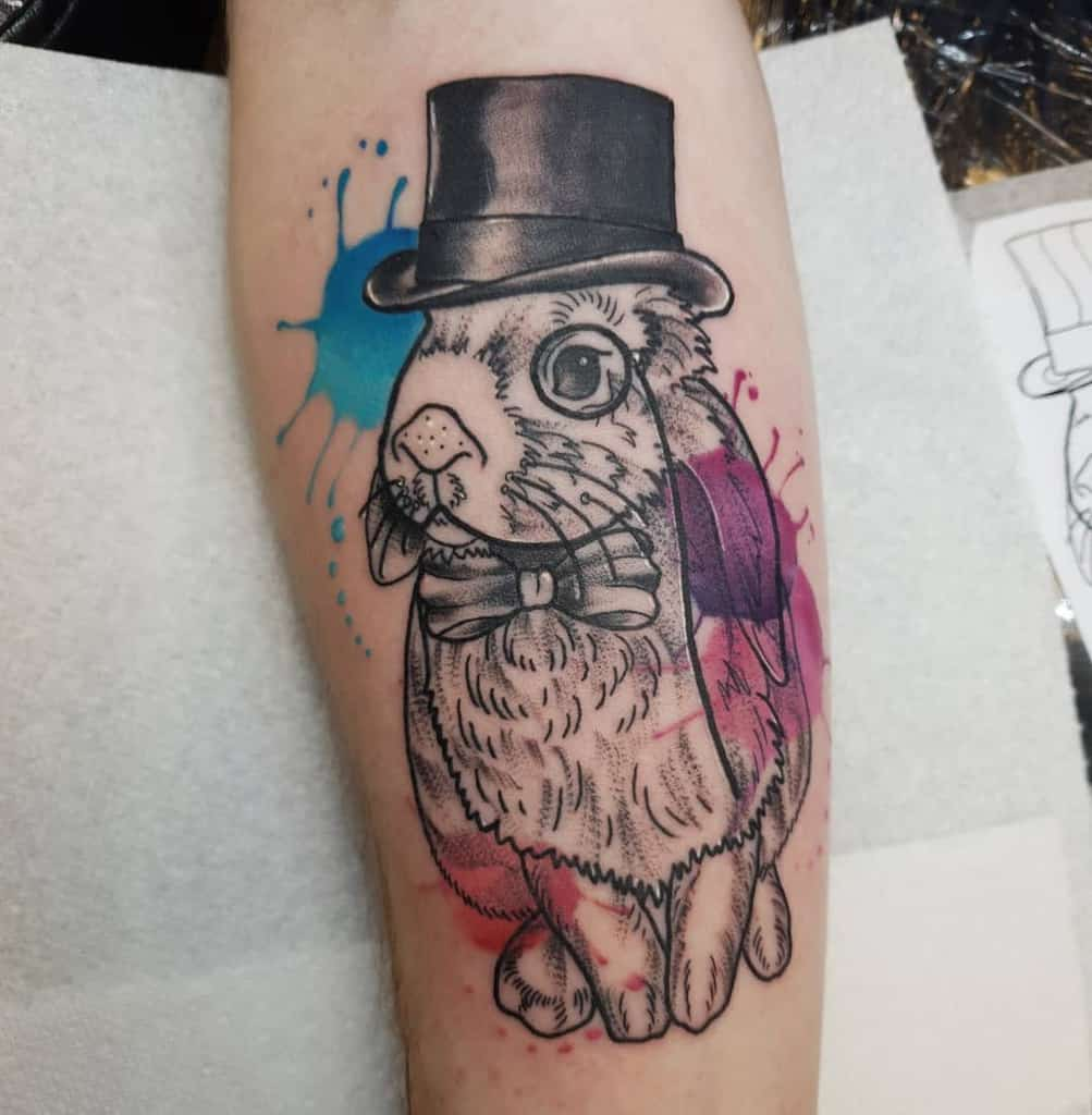 Watercolor Rabbit Tattoos Bexheathtattooist