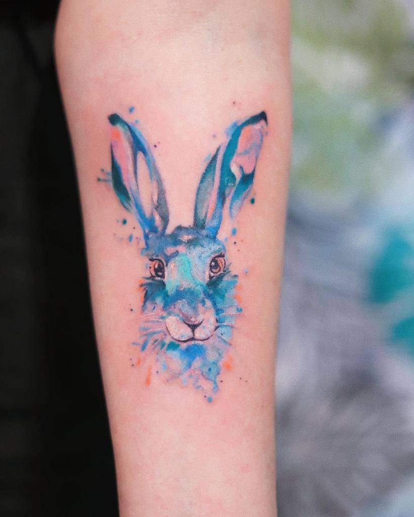 Watercolor Rabbit Tattoos Colour.splash.tattoo