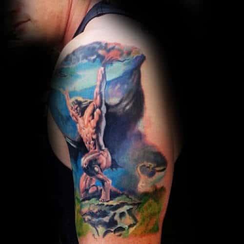 Watercolor Realistic Atlas Upper Arm Male Tattoos