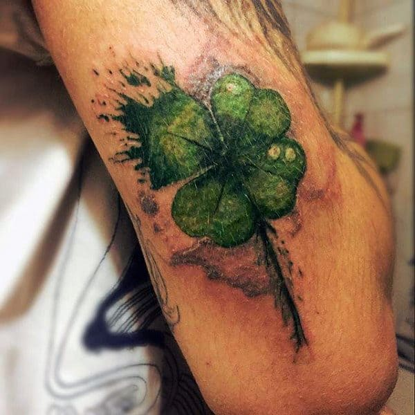 60 four leaf clover tattoo designs for men good luck ink ideas. Black Bedroom Furniture Sets. Home Design Ideas