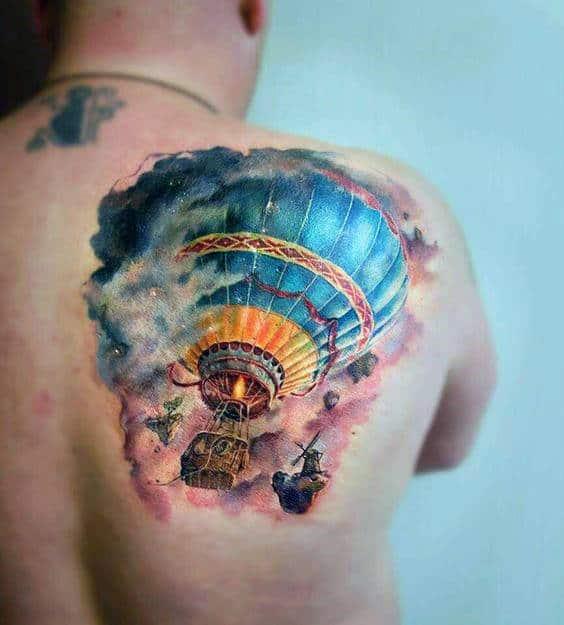 Watercolor Realistic Hot Air Balloon Shoulder Tattoos For Men