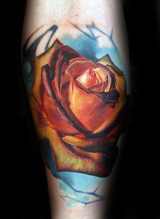 Watercolor Realistic Mens Rose Tattoos On Inner Forearm