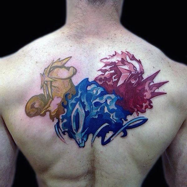 Watercolor Red Blue And Yellow Pokemon Male Back Tattoos