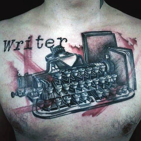 Watercolor Red Paint Brush Stroke Writer Typewriter Mens Chest Tattoos
