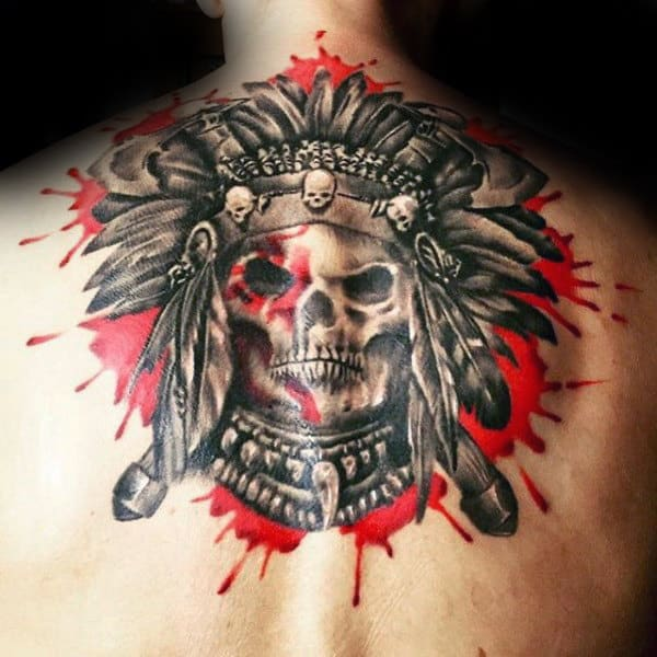 Watercolor Red Paint Splatter Mens Upper Back Indian Skull Tattoos