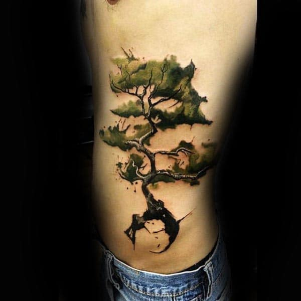 Watercolor Rib Cage Side Bonsai Tree Tattoos For Men