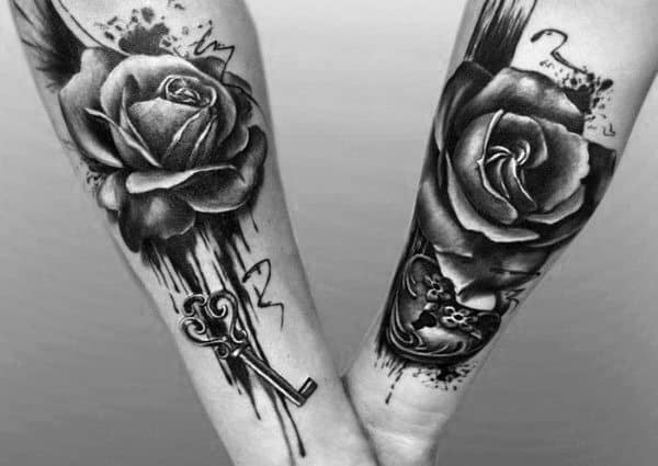 Watercolor Rose Flower Forearm Coordinating Tattoos Couples