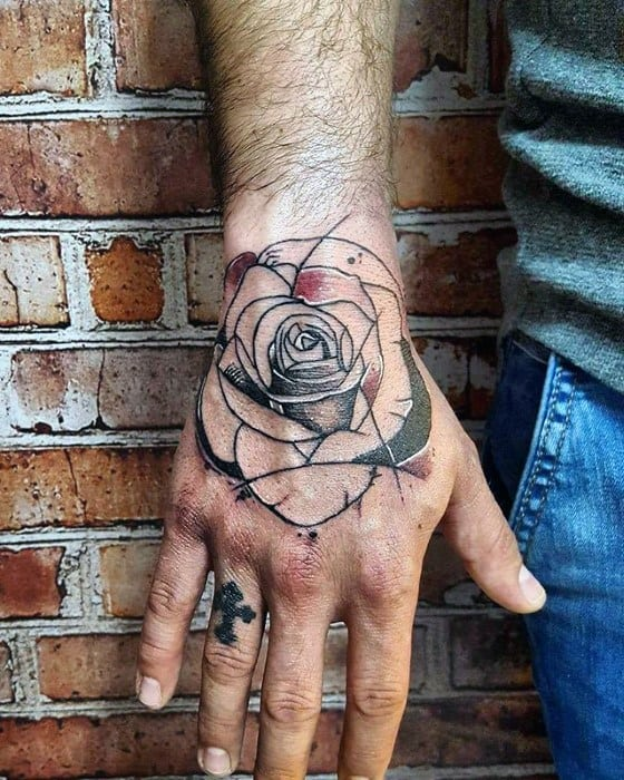Watercolor Rose Flower Simple Hand Tattoo Designs For Men