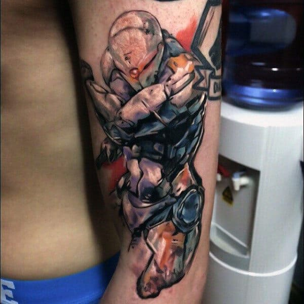 Watercolor Shaded Halo Arm Video Game Tattoos For Guys