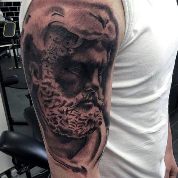 Watercolor Shaded Hercules Mens Upper Arm Tattoo