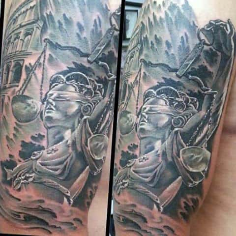 Watercolor Shaded Lady Justice Mens Half Sleeve Tattoos