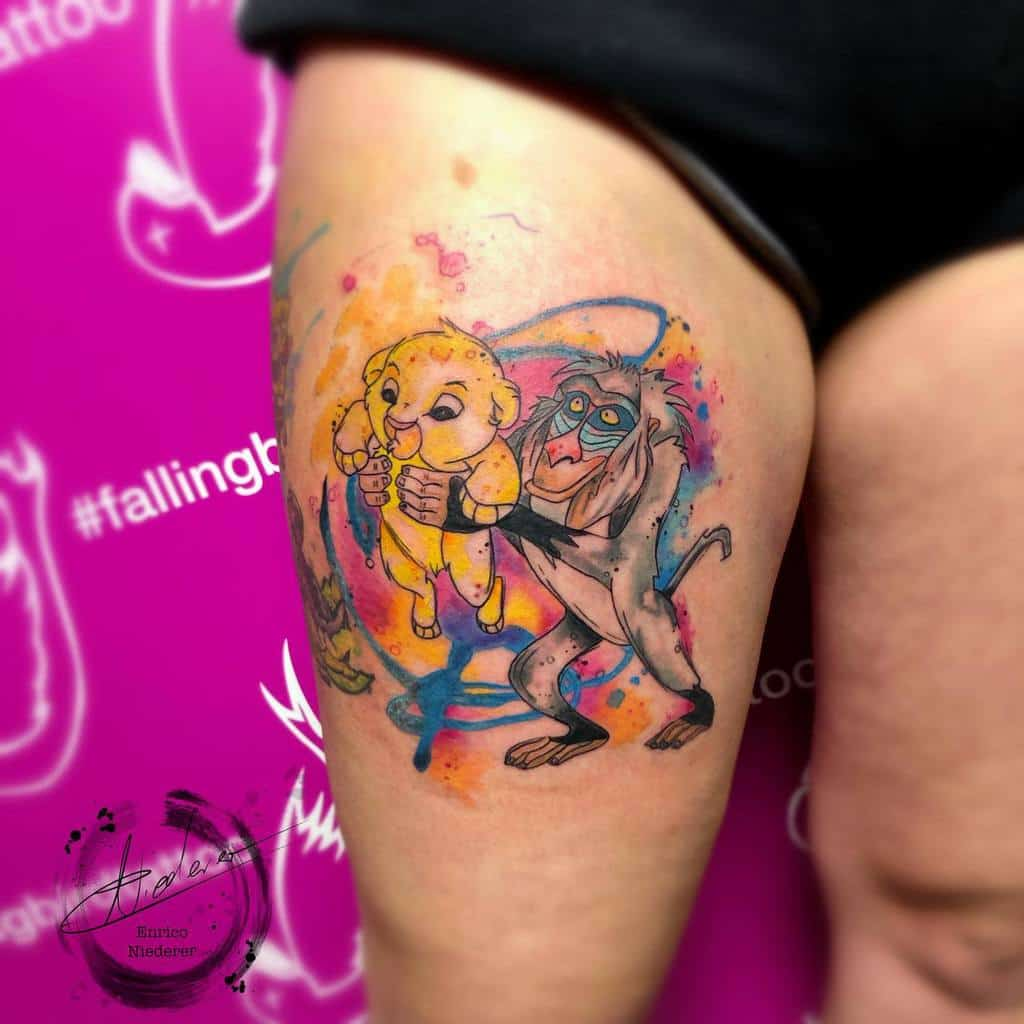 Watercolor Simba Tattoo E Ni93