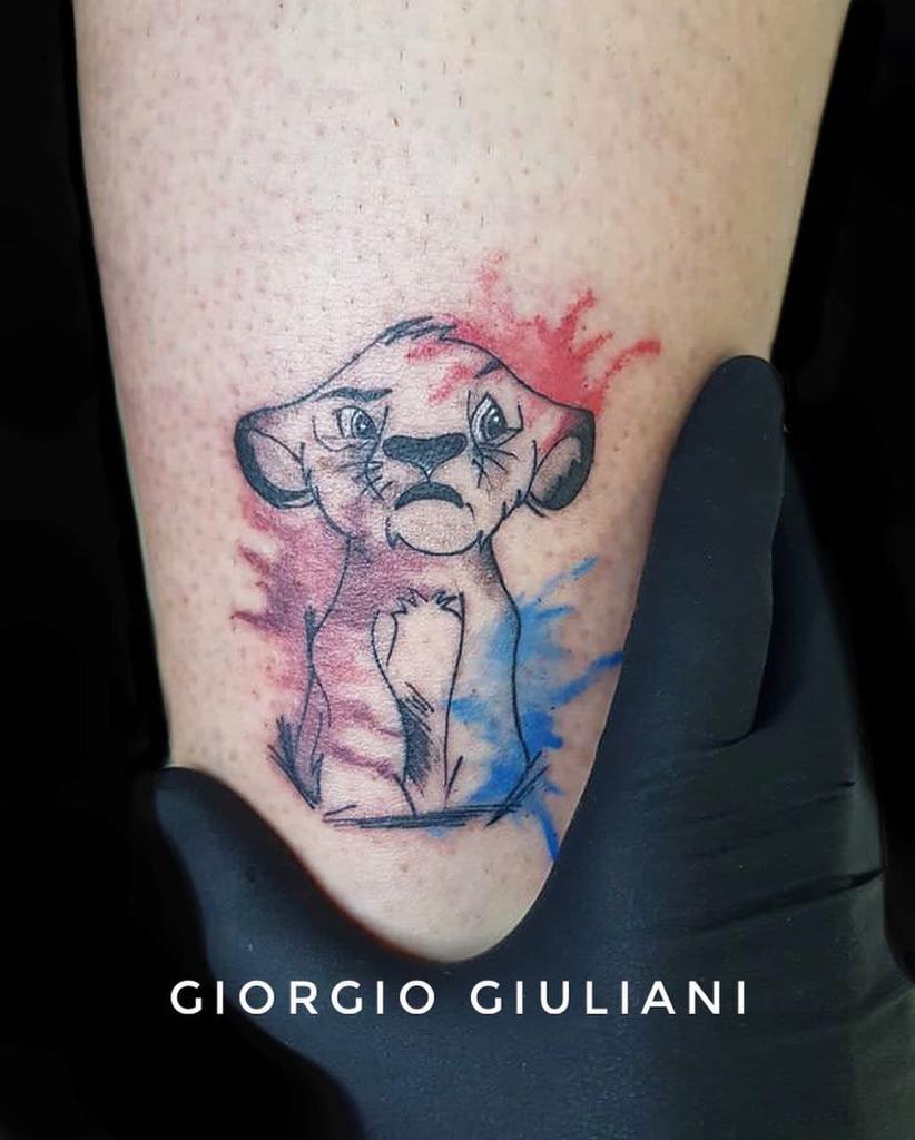 Watercolor Simba Tattoo Giorgiogiutattoo