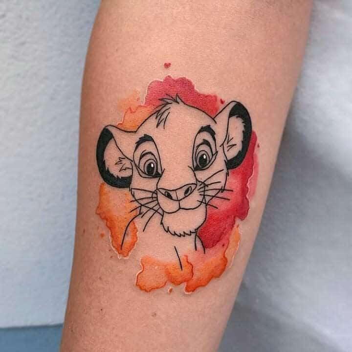 Watercolor Simba Tattoo Tattoocrewninjasworld