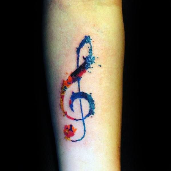 Watercolor Simple Music Note Guys Forearm Tattoo