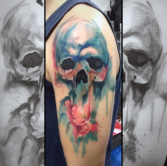 Watercolor Skeletal Head Tattoo On Arms For Guys