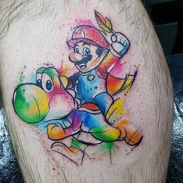 Watercolor Sketched Leg Calf Mens Tattoo With Yoshi Design