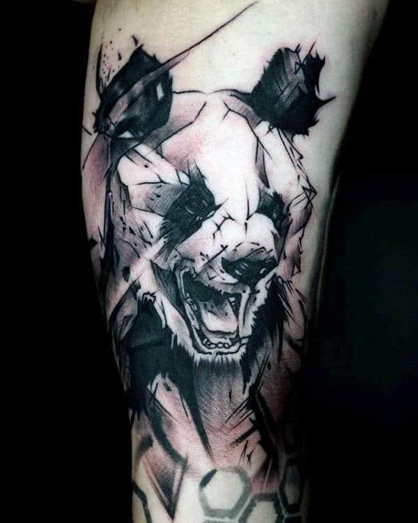 Watercolor Sketched Panda Arm Tattoo For Men