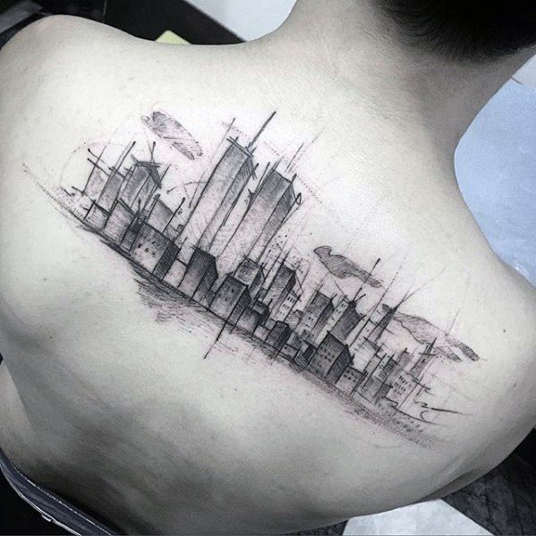 Watercolor Sketched Upper Back New York City Skyline Mens Tattoo Designs