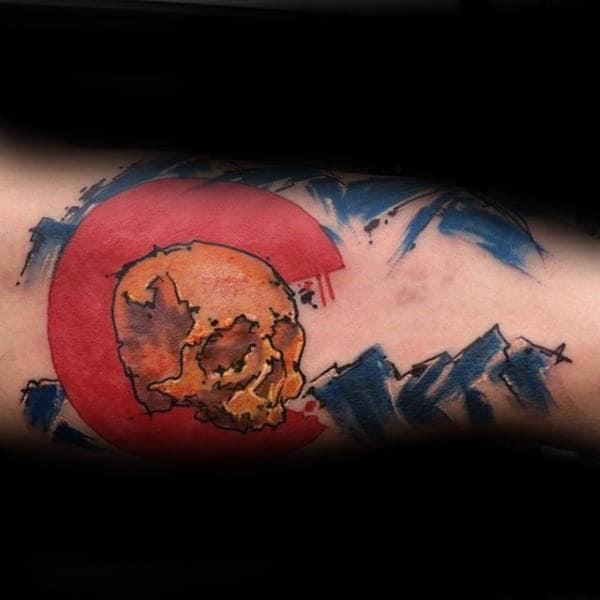 Watercolor Skull Colorado Mens Forearm Tattoos