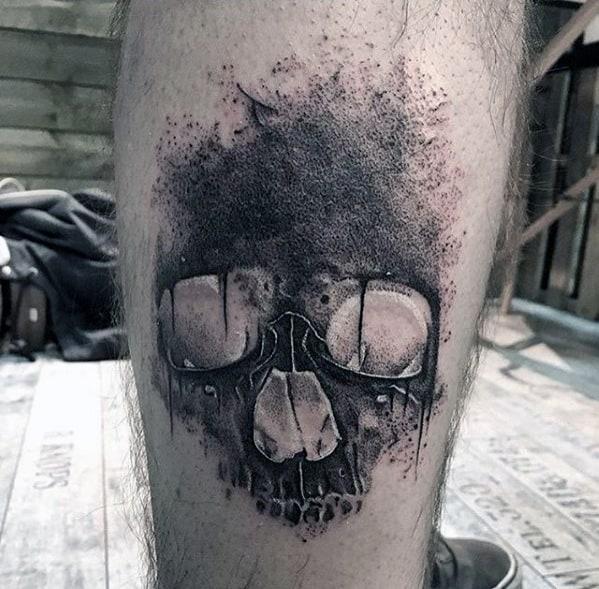 Watercolor Skull Different Mens Leg Tattoo Designs