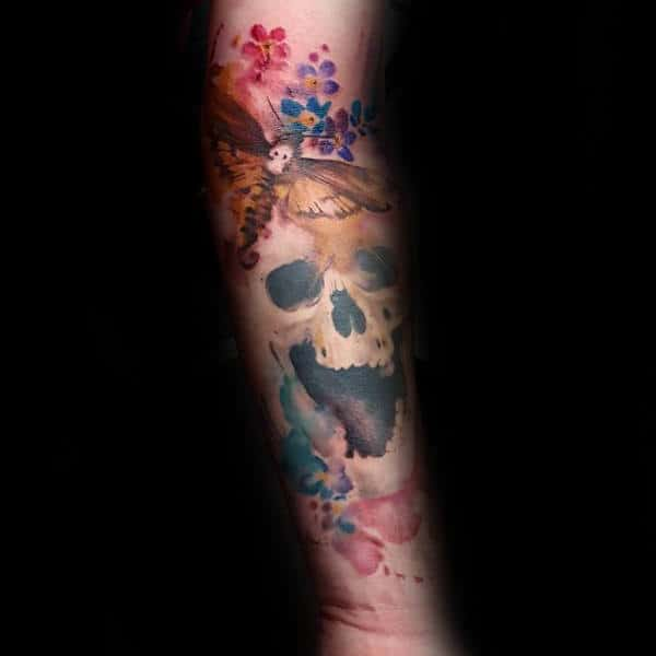 Watercolor Skull With Moth Mens Colorful Forearm Tattoos