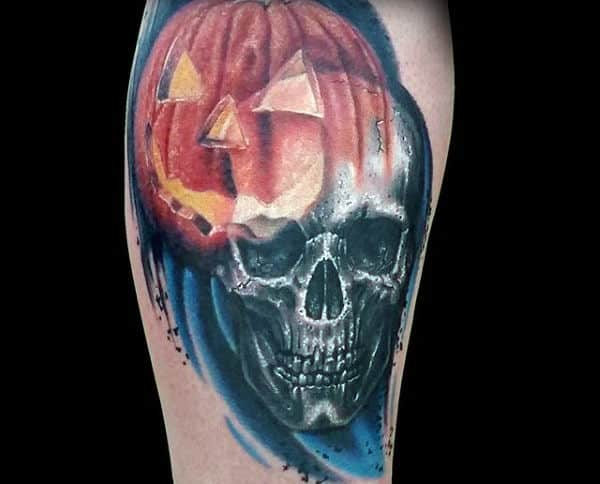 Watercolor Skull With Pumpkin Mens Thigh Tattoo