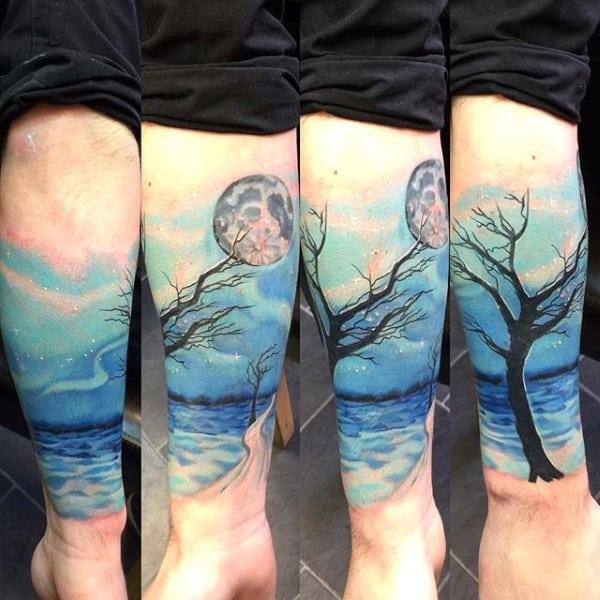 Watercolor Sky Tree Sleeve Leg Tattoos For Guys