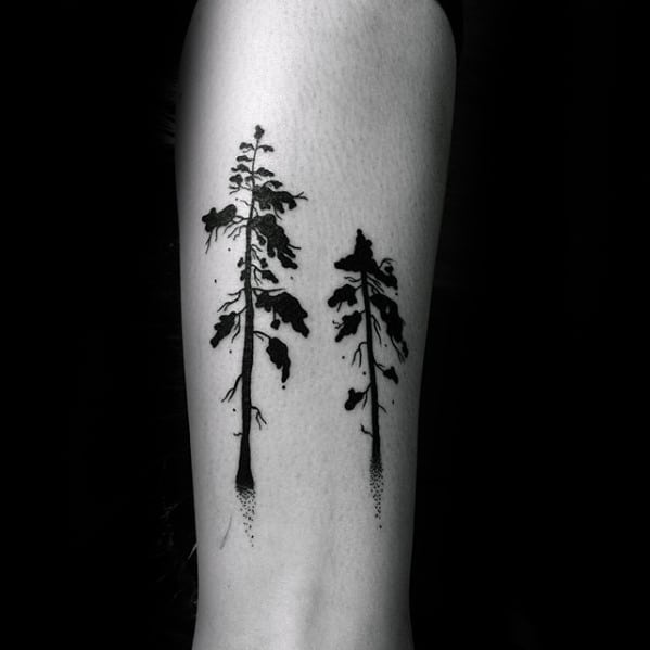 Watercolor Small Guys Tree Forearm Black Ink Tattoo