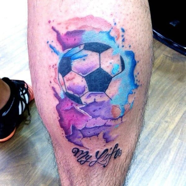 Watercolor Soccerball Mens Leg Tattoos
