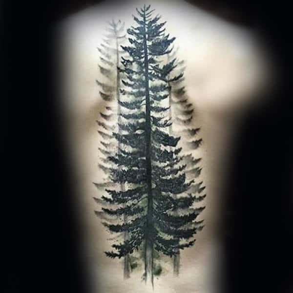 Watercolor Spine Back Pine Tree Guys Tattoos