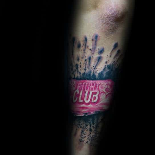 Watercolor Splatter Mens Fight Club Soap Bar Outer Forearm Tattoo Inspiration