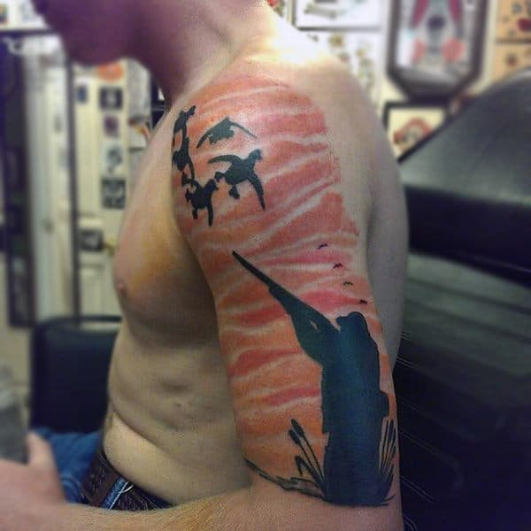 Watercolor Sunset Background Duck Hunting Half Sleeve Tattoo For Man