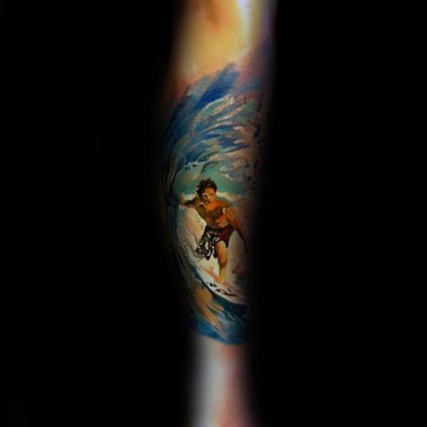 Watercolor Tattoo Of Surfing Man Mens Forearm