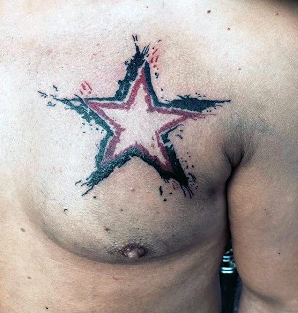 Watercolor Trash Polka Star Mens Chest Tattoos