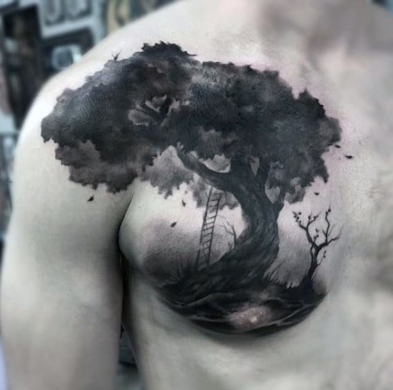 Watercolor Tree Black Ink Chest Tattoos For Men