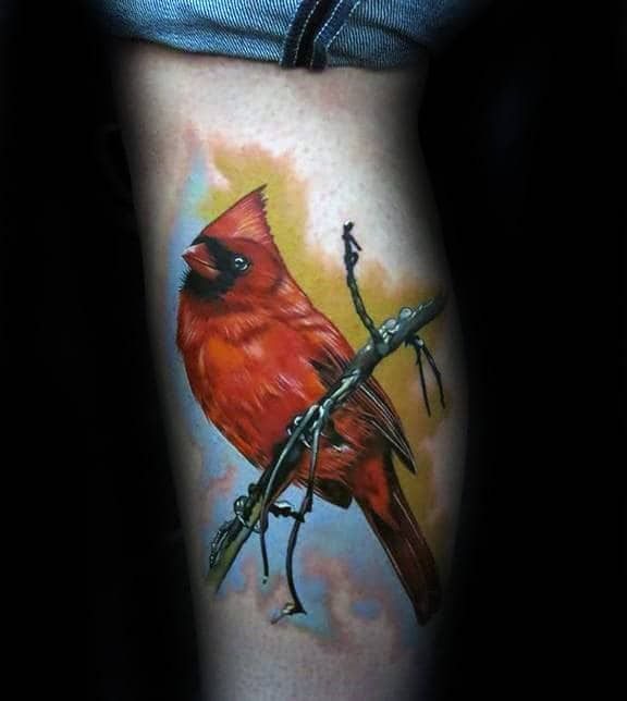 Watercolor Tree Branch With Cardinal Mens Leg Tattoos