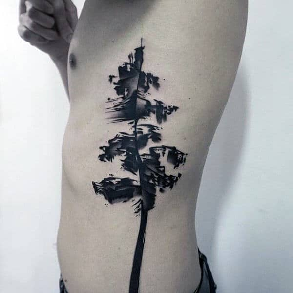 Watercolor Tree Creative Mens Rib Cage Side Tattoo Designs