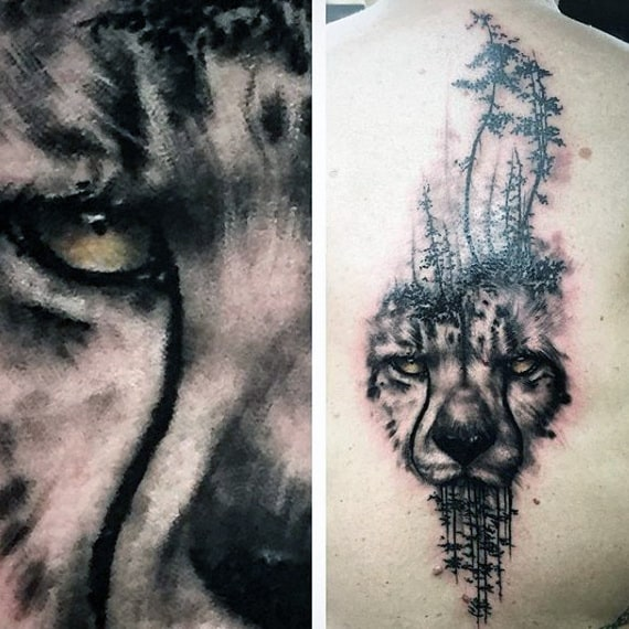 Watercolor Tree Leopard Mens Spine Tattoos
