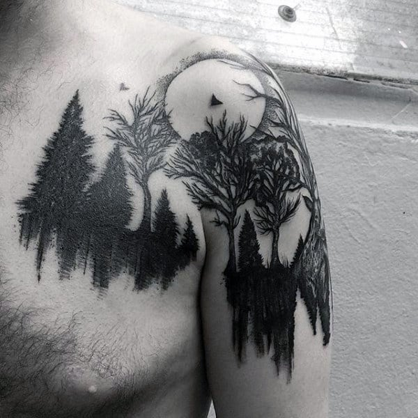 Watercolor Trees Landscape Moon Tattoo For Men On Shoulder And Arm