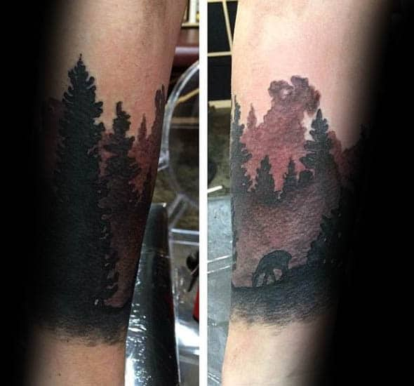 Watercolor Trees Silhouette Mens Forearm Tattoos